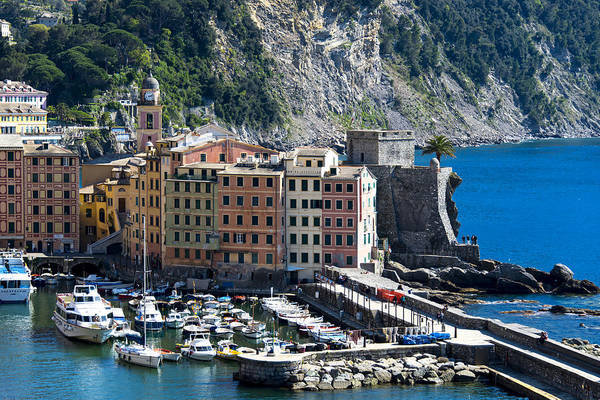 Photograph - Camogli Harbour And Buildings View by Enrico Pelos