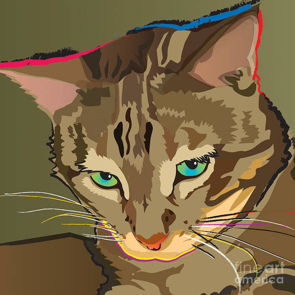 Camouflage Bengal Cat Square Art Print