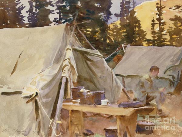 Camp Painting - Camp At Lake Ohara, 1916 by John Singer Sargent