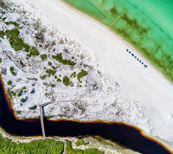 Photograph - Camp Creek Lake Outfall Aerial by Kurt Lischka