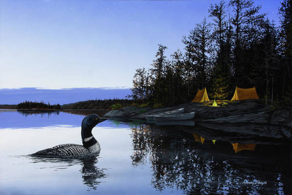 Loon Painting - Camp Loon by Anthony J Padgett