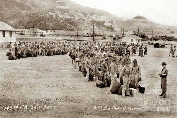 Photograph - Camp San Luis Obispo Army Base 40th Division Photo 143rd Field Artillery 1941 by California Views Archives Mr Pat Hathaway Archives