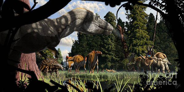Cretaceous Wall Art - Digital Art - Campanian Montana Landscape by Julius Csotonyi