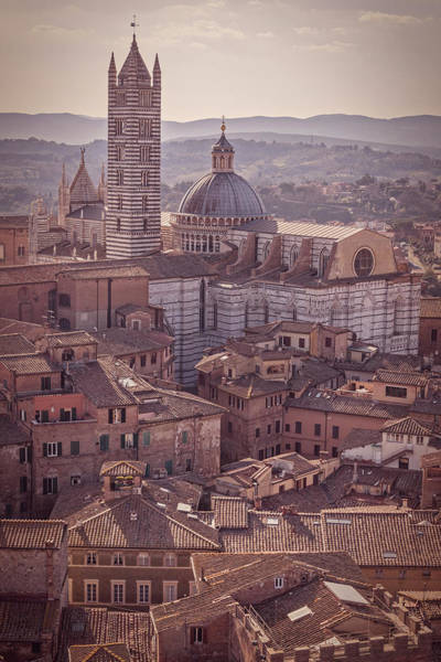 Wall Art - Photograph - Campanile And Cathedral In Siena Italy Antique Matte by Joan Carroll