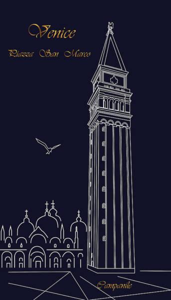 Digital Art - Campanile.night Venice by Marina Usmanskaya