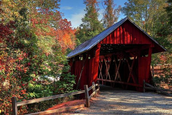 Photograph - Campbell Covered Bridge During Fall  by Carol Montoya