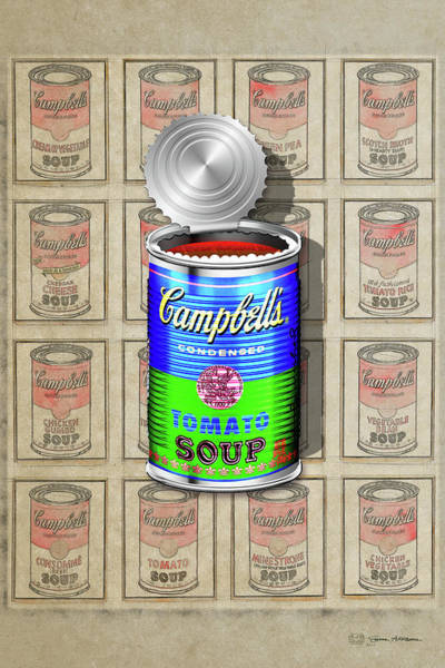 Digital Art - Campbell's Soup Revisited - Blue And Green by Serge Averbukh