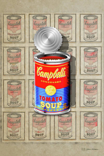 Digital Art - Campbell's Soup Revisited - Red And Blue   by Serge Averbukh