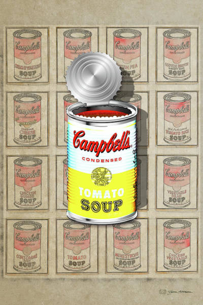 Digital Art - Campbell's Soup Revisited - White And Yellow by Serge Averbukh