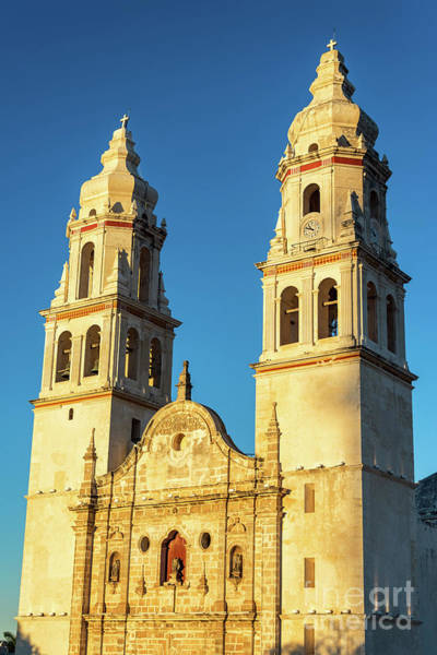 Campeche Photograph - Campeche Cathedral Golden Hour by Jess Kraft