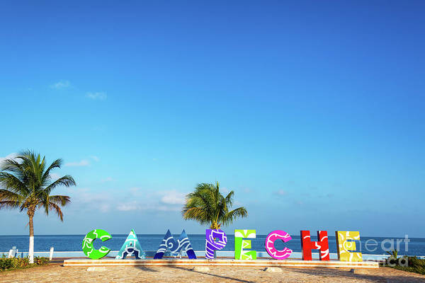 Campeche Photograph - Campeche Sign And Sea by Jess Kraft
