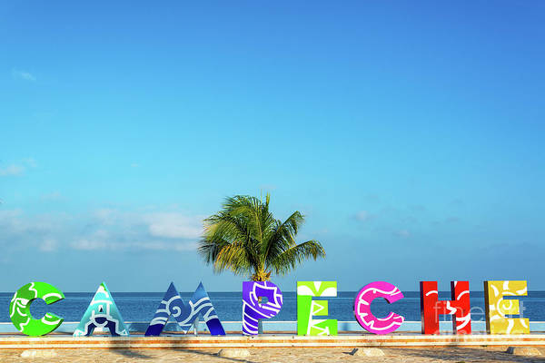 Campeche Photograph - Campeche Sign And Sea View by Jess Kraft