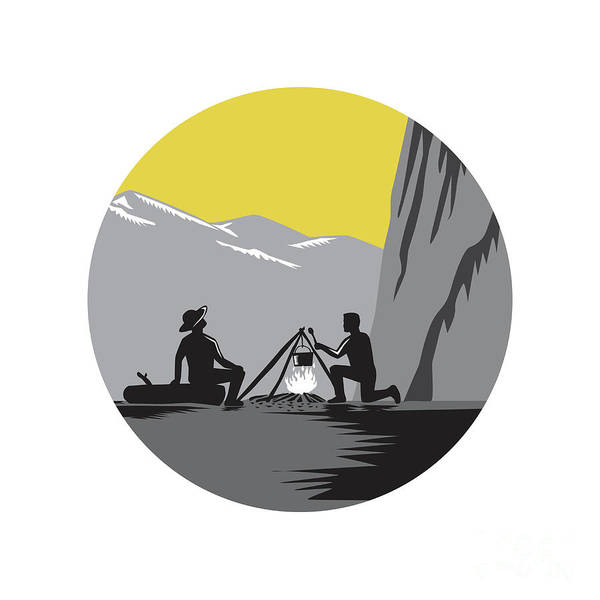 Climber Digital Art - Campers Sitting Cooking Campfire Circle Woodcut by Aloysius Patrimonio