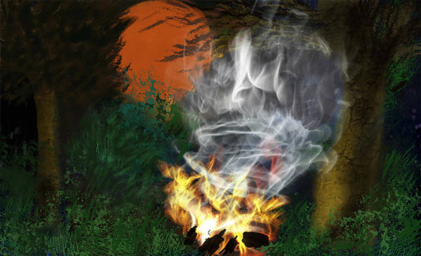Painting - Campfire  by Dick Bourgault