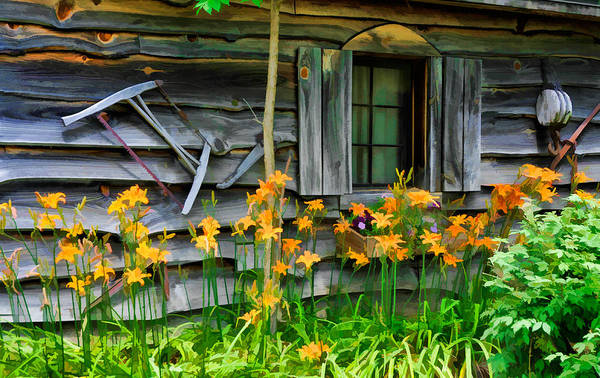 Photograph - Campfire Lodgings Rustic Cabin by Ginger Wakem
