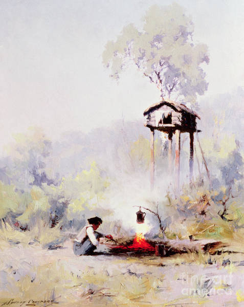 Wall Art - Painting - Campfire by Sidney Laurence