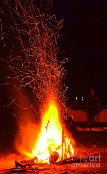 Photograph - Campfire Streaking Into The Night Sky by Christopher Shellhammer