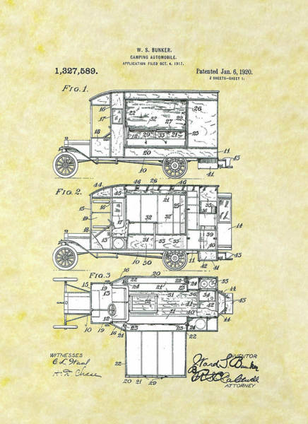 Wall Art - Drawing - Camping Automobile Patent by Movie Poster Prints