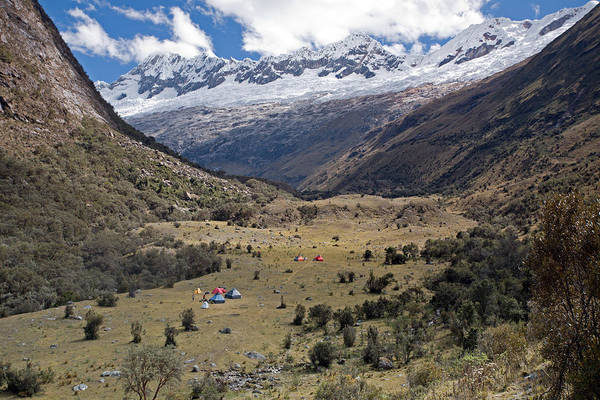 Camping In Huaripampa Valley Art Print