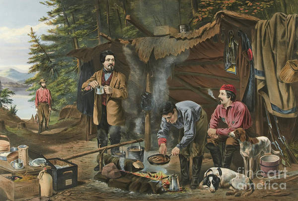 Wall Art - Painting - Camping In The Woods  A Good Time Coming by Currier and Ives