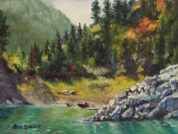 Painting - Camping On The Lake Shore by Lori Brackett