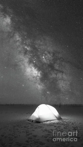 Photograph - Camping Under The Galaxy Bw by Michael Ver Sprill