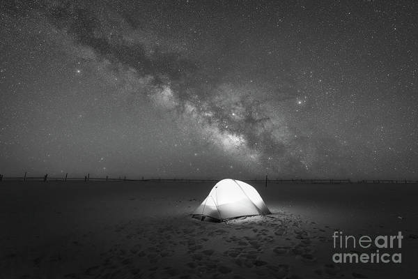 Photograph - Camping Under The Milky Way Galaxy Bw by Michael Ver Sprill