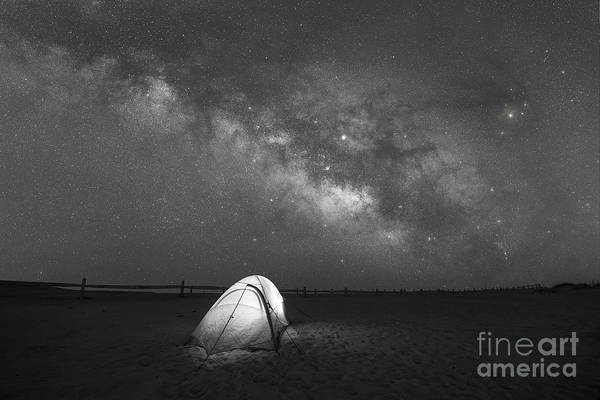 Photograph - Camping Under The Stars Bw by Michael Ver Sprill