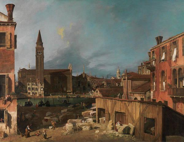 Church Yard Wall Art - Painting - Campo S. Vidal And Santa Maria Della Carita by Canaletto