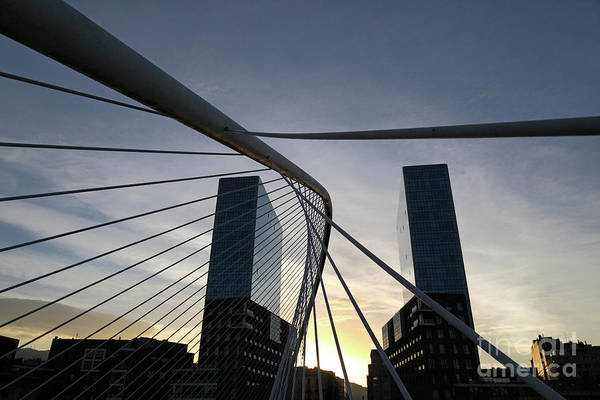 Photograph - Campo Volantin Bridge And Isozaki Towers Bilbao by James Brunker