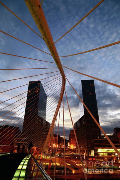 Photograph - Campo Volantin Bridge And Isozaki Towers Bilbao Spain by James Brunker