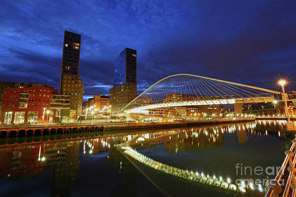 Photograph - Campo Volantin Or Zubizuri Bridge At Twilight Bilbao by James Brunker