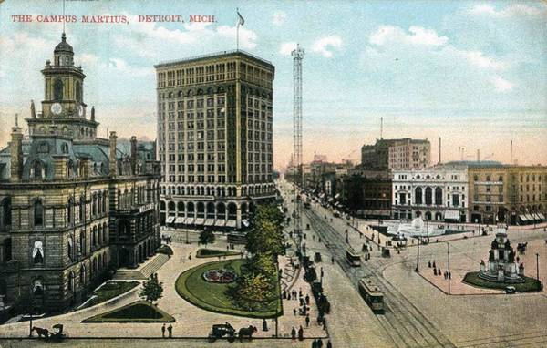 Painting - Campus Martius With The Old Detroit City Hal by Celestial Images