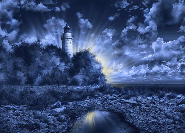 Wall Art - Painting - Cana Island Lighthouse Blue by Bekim M
