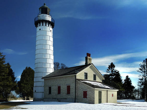 Photograph - Cana Island Lighthouse Blue Sky by David T Wilkinson