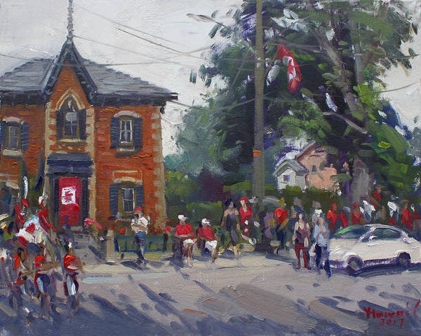 Glen Wall Art - Painting - Canada Day Parade At Glen Williams  On by Ylli Haruni