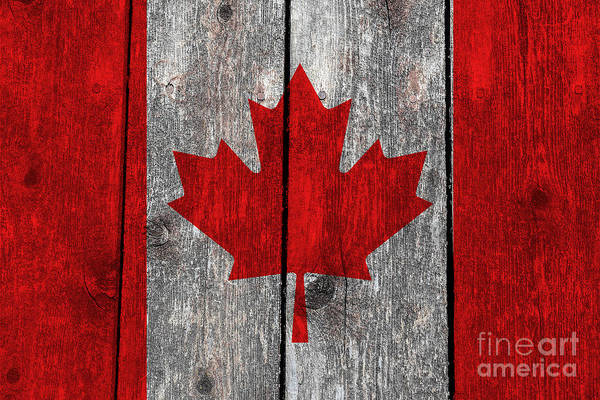 Wall Art - Photograph - Canada Flag On Heavily Textured Woodgrain by Bruce Stanfield
