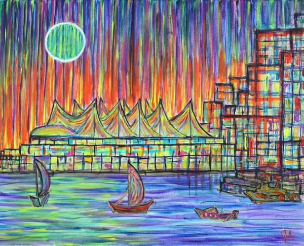 Metro Vancouver Wall Art - Painting - Canada Place, Vancouver, Alive In Color by Jeremy Aiyadurai