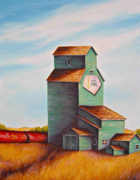 Elevator Wall Art - Painting - Canada's Grain Train by Kristina Steinbring