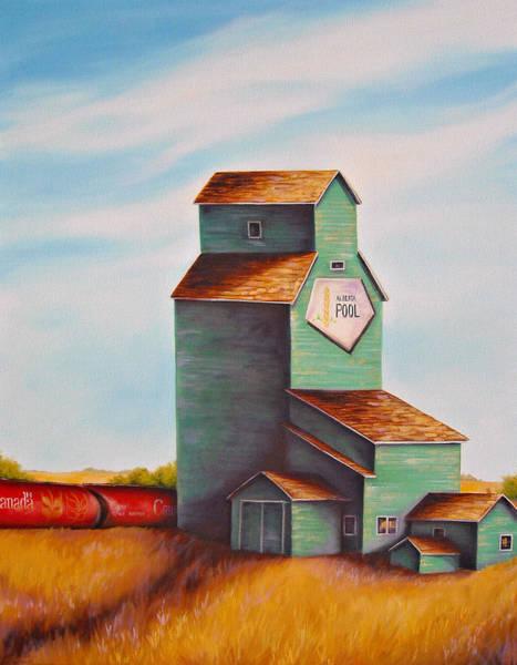 Elevators Wall Art - Painting - Canada's Grain Train by Kristina Steinbring