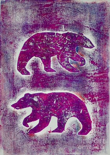 Art Print featuring the mixed media Canadian Bears Pink  by Corina Stupu Thomas