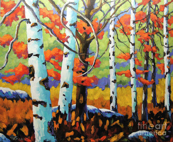 Wall Art - Painting - Canadian Birch Woods by Richard T Pranke
