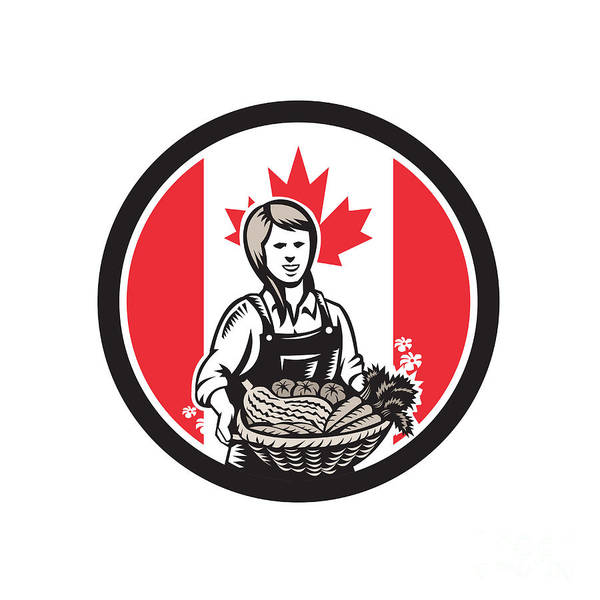 Wall Art - Digital Art - Canadian Female Organic Farmer Canada Flag Icon  by Aloysius Patrimonio