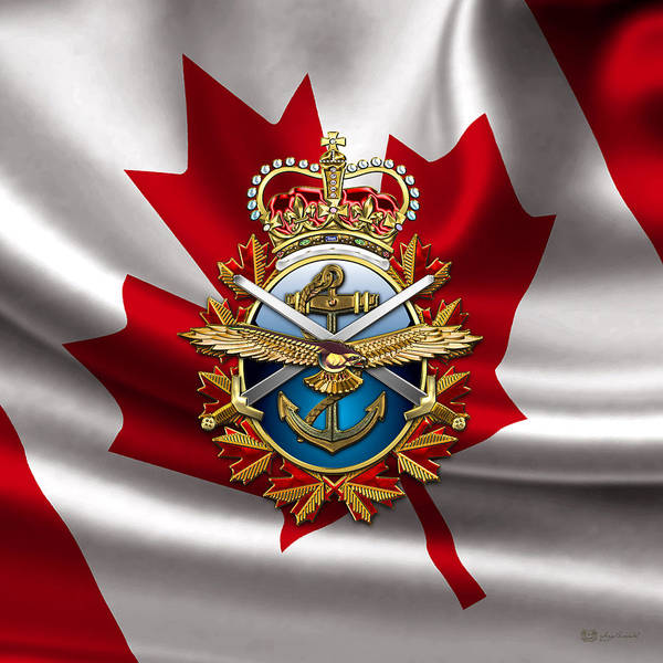 Military Photograph - Canadian Forces Emblem Over Flag by Serge Averbukh