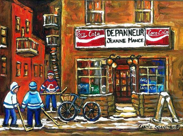 Painting - Canadian Hockey Art Night Scene Coca Cola Depanneur Best Montreal Art Quebec Paintings For Sale by Carole Spandau