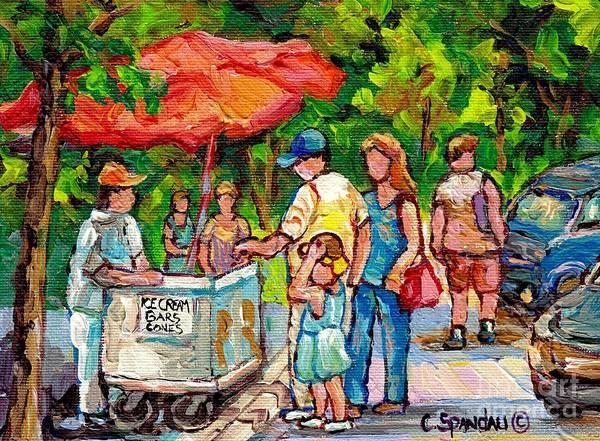 Painting - Canadian Landscape Painting Ice Cream Vendor Beaver Lake Mount Royal Canadian Park Scenes C Spandau  by Carole Spandau