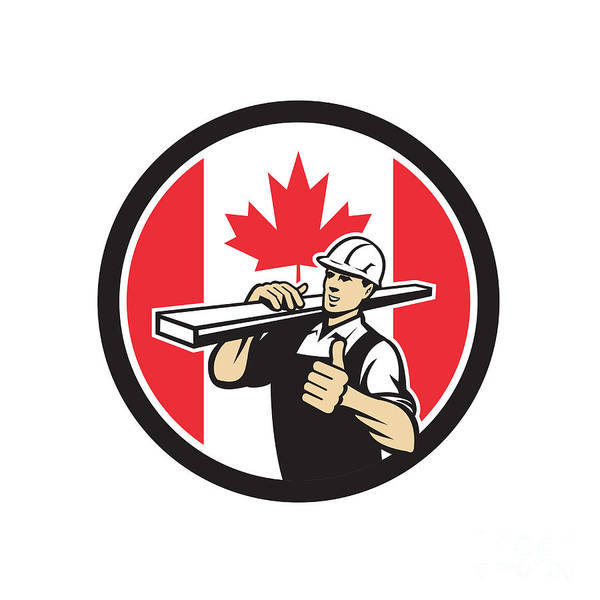 Wall Art - Digital Art - Canadian Lumber Yard Worker Canada Flag Icon by Aloysius Patrimonio