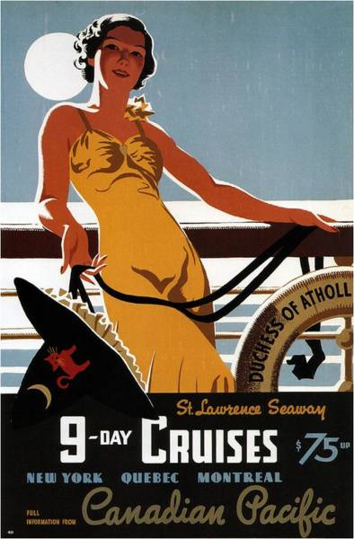 Wall Art - Mixed Media - Canadian Pacific - 9-day Cruises - Retro Travel Poster - Vintage Poster by Studio Grafiikka