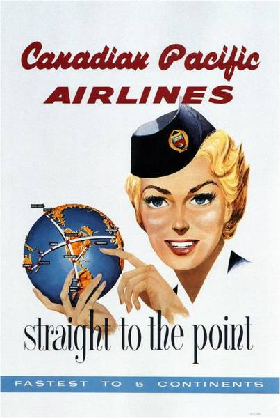 Office Decor Mixed Media - Canadian Pacific Airlines - Straight To The Point - Retro Travel Poster - Vintage Poster by Studio Grafiikka