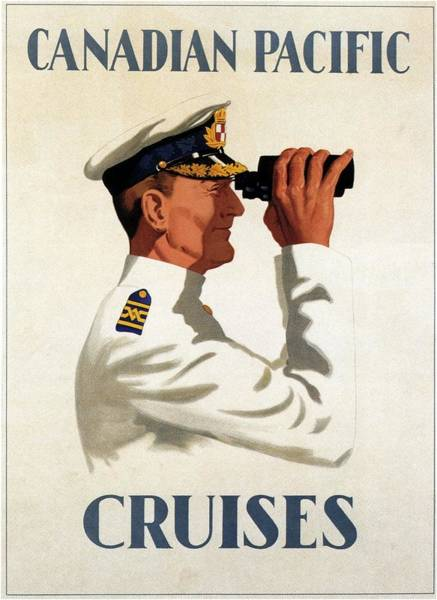 Hat Mixed Media - Canadian Pacific - Cruises - Sailor With Binocular - Retro Travel Poster - Vintage Poster by Studio Grafiikka